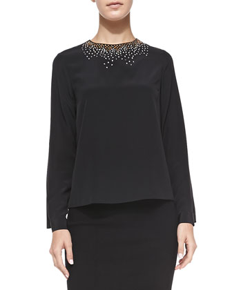 Lygia Embellished-Neck Blouse
