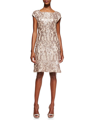 Patterned Sequined Overlay Cocktail Dress