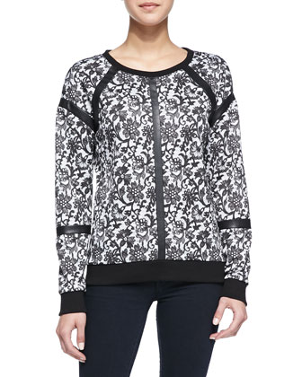 Floral Lace-Print Faux-Leather Trimmed Combo Top, Black/White