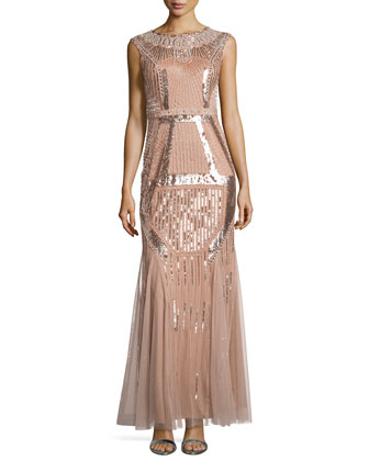 Fully Beaded Gown, Rose Gold