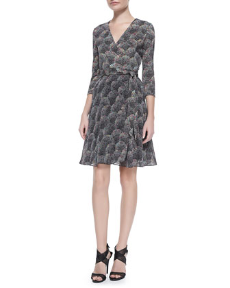 3/4-Sleeve Printed Silk Wrap Dress