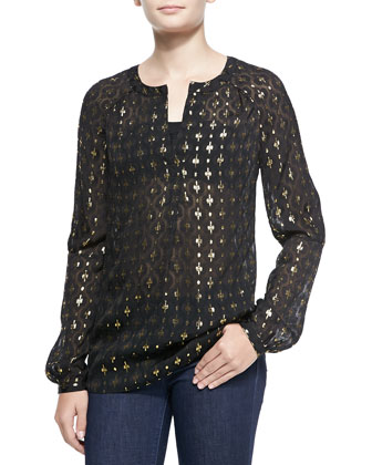 Sheer Printed Metallic Blouse