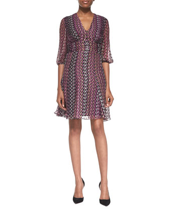 Ruch-Waist Printed A-Line Dress