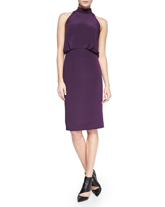 Silk Halter Dress, Aubergine