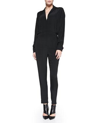 Long-Sleeve Cropped-Leg Jumpsuit, Black