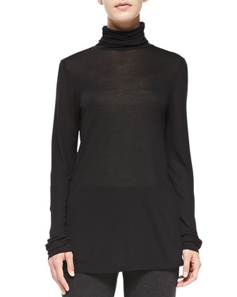 Lightweight Slub Long Turtleneck