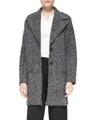 Tweedy Fleece Long Overcoat