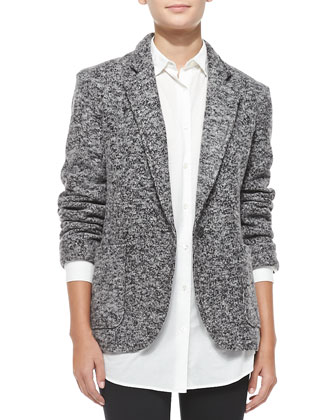 Tweedy Fleece Boyfriend Blazer
