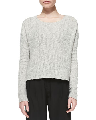 Raw-Edge Boxy Knit Sweater