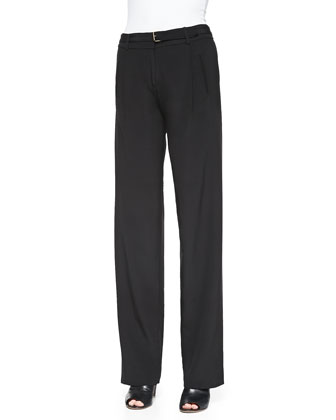 Wide-Leg Belted Faille Pants