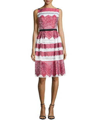 Lace-Embroidered Day Dress, Rose/White