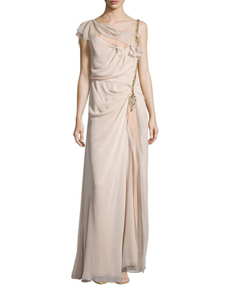 Draped Ruched & Embellished-Side Gown