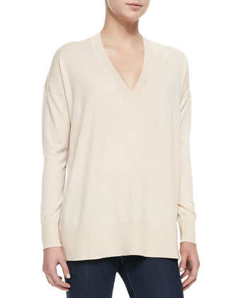V-Neck Leopard Print-Back Sweater, Nude/Camel Leopard