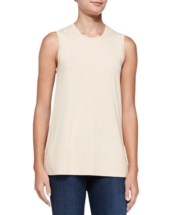 Sleeveless Flared Printed-Back Top, Nude/Camel Leopard