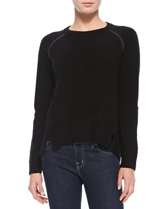 Cashmere Sweater with Suede Patches