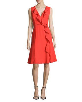 Ruffle-Trim Mock-Wrap Dress, Reef Reed