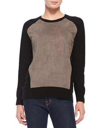 Cashmere Sweater with Suede Front Panel
