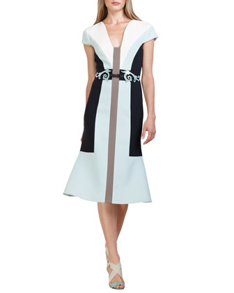 Colorblock Wool Crepe Dress