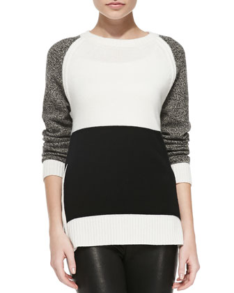 Cashmere Colorblock Sweater with Side Zip