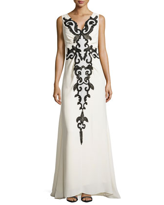 Silk V-Neck Applique Gown