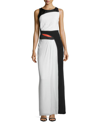 Colorblock Silk/Jacquard Gown