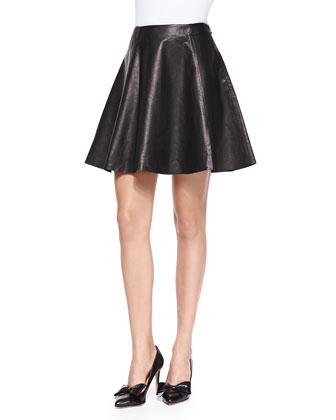 leather flare circle skirt, black