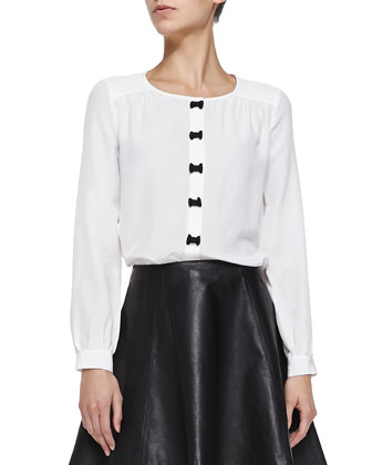 bow placket silk blouse & leather flare circle skirt