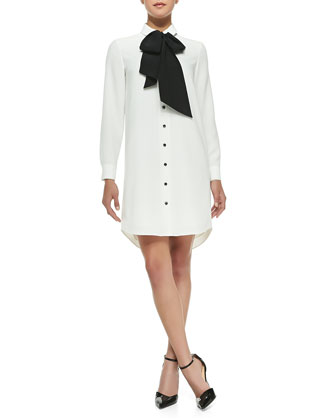 griffin silk tie shirttail dress