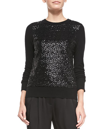 sequined-front sweater w/ tie back