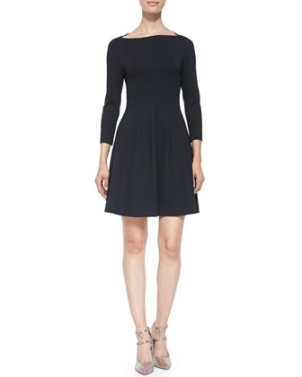 selma 3/4-sleeve fit & flare dress