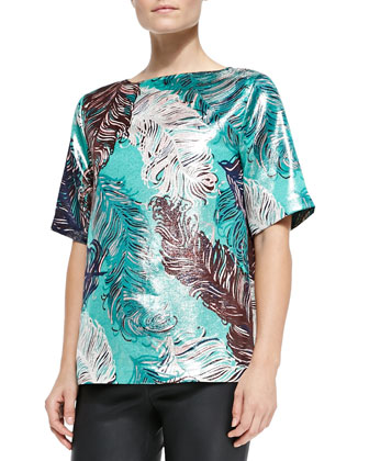 regal plumes platinum jacquard top