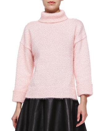 shimmer knit turtleneck