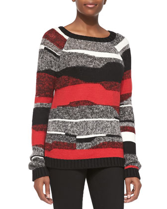 Graphic Stripe Pullover Sweater
