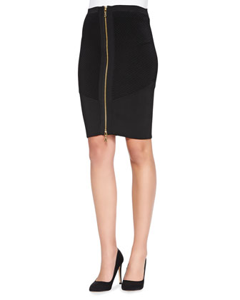 Zip-Front Lace Jacquard Jacket & Stretch Zip Pencil Skirt
