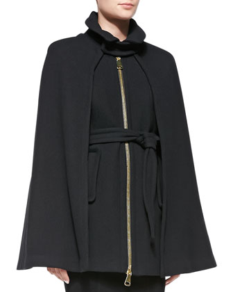 Sienna Zip-Front Wool Cape & Textured Knit Sheath Dress