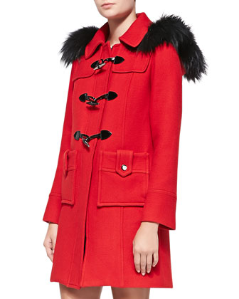 Fox Fur-Trim Duffle Coat