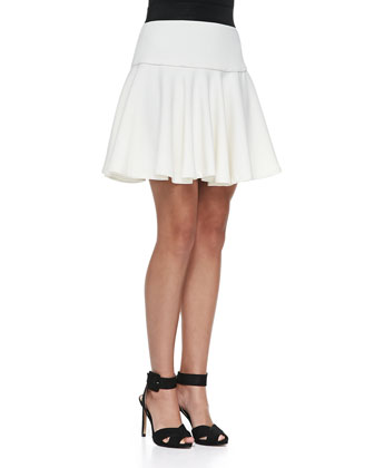 Emily Cap-Sleeve Tie-Neck Lace Top & Drop-Waist Flared Twill Skirt