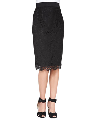 Streamer-Front Stretch-Silk Blouse & Long Floral-Lace Pencil Skirt
