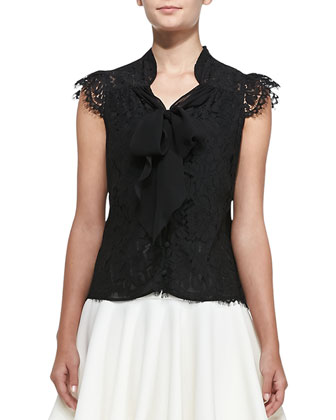 Emily Cap-Sleeve Tie-Neck Lace Top