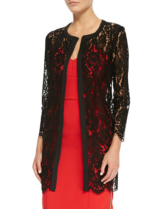 Sheer Floral-Lace Open Coat & Marta Side-Zip Strapless Dress