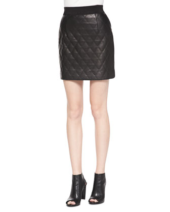 Quilted Banded Leather Miniskirt
