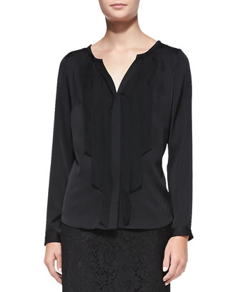 Streamer-Front Stretch-Silk Blouse