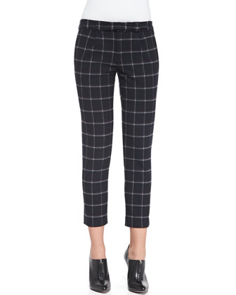 Zip-Back Wide-Stitch Sweater & Cropped Plaid Crepe Slim Pants