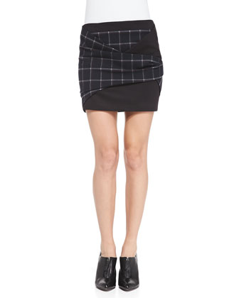 Draped Open-Back Printed Top & Plaid Crepe Folded Miniskirt