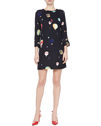 brie hot air balloon 3/4-sleeve dress