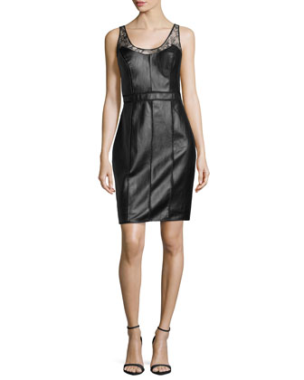 Illusion Faux-Leather Shell Dress, Black