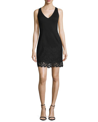 Sleeveless Lace-Overlay Ponte Cocktail Dress, Black