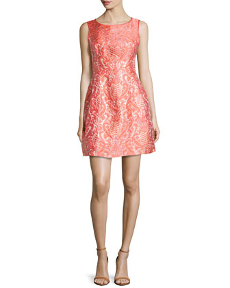 Pineapple Shimmer-Jacquard Fit-And-Flare Dress, Coral