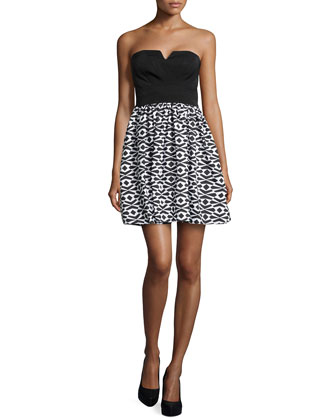 Strapless Geometric-Print Fit-And-Flare Dress, Black/White
