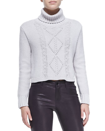 J Brand Jeans Maddie Turtleneck Sweater w/ Cable-Knit Front & L8001 Leather ...